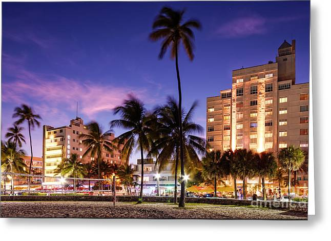 Sky Lovers Art Greeting Cards - Hotel Victor and The Tides on Ocean Drive - Miami Beach South Beach Art Deco District - Florida Greeting Card by Silvio Ligutti