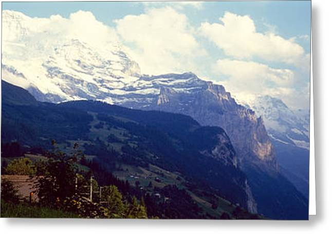 Swiss Photographs Greeting Cards - Hotel With Mountain Range Greeting Card by Panoramic Images
