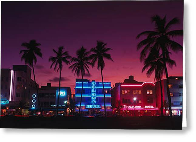 Illuminate Greeting Cards - Hotels Illuminated At Night, South Greeting Card by Panoramic Images
