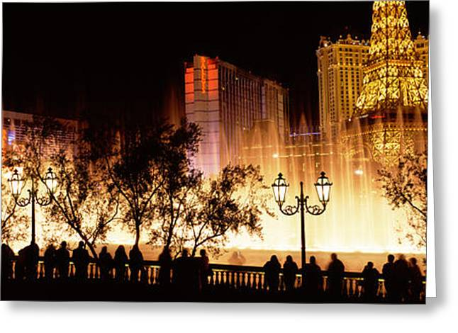 Imitation Greeting Cards - Hotels In A City Lit Up At Night, The Greeting Card by Panoramic Images