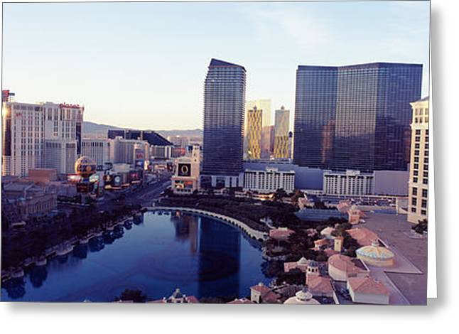 The Strip Greeting Cards - Hotels In A City, The Strip, Las Vegas Greeting Card by Panoramic Images