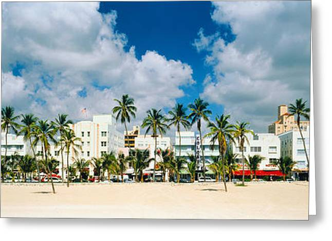 Ocean Art Photography Greeting Cards - Hotels On The Beach, Art Deco Hotels Greeting Card by Panoramic Images