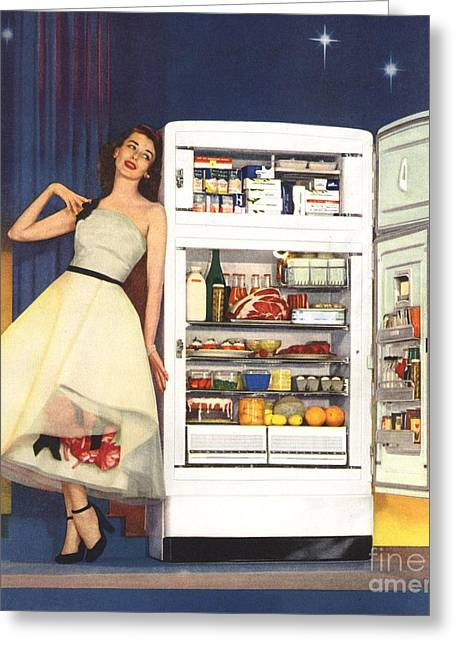 Twentieth Century Drawings Greeting Cards - Hotpoint 1951 1950s Usa Fridges Greeting Card by The Advertising Archives