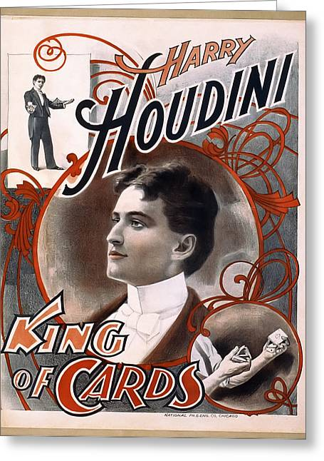 Seance Greeting Cards - HOUDINI KING of CARDS  1895 Greeting Card by Daniel Hagerman