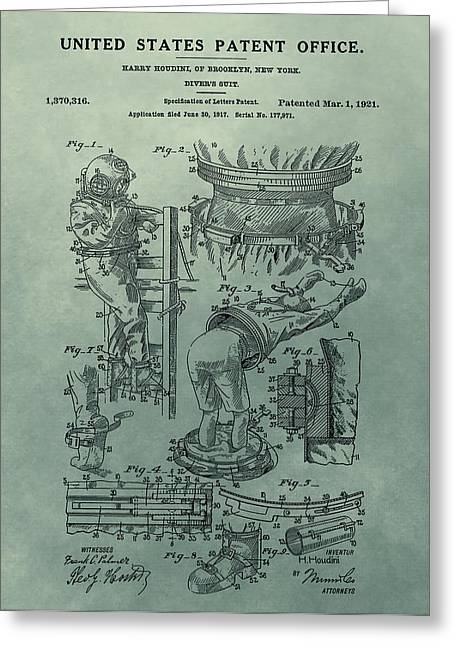 Famous Artist Mixed Media Greeting Cards - Houdinis Divers Suit Patent Illustration Greeting Card by Dan Sproul
