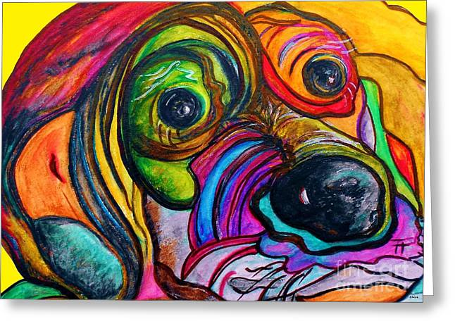 Puppies Mixed Media Greeting Cards - Hound Dog Greeting Card by Eloise Schneider