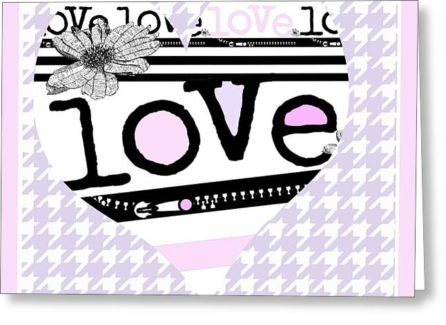 Couer Greeting Cards - Houndstooth Love in Pink Greeting Card by ArtyZen Studios