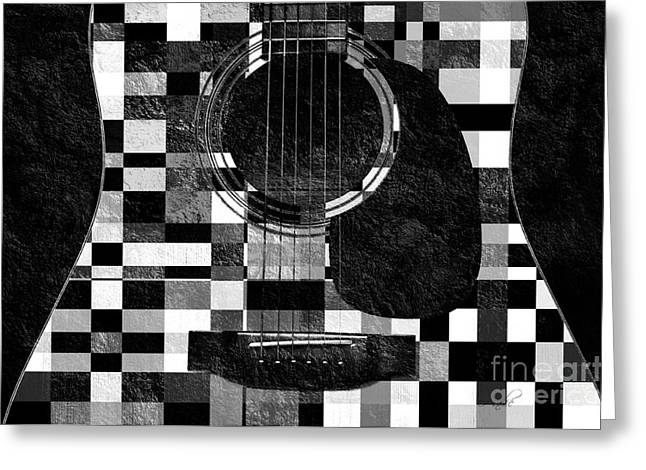Object Mixed Media Greeting Cards - Hour Glass Guitar Random BW Squares Greeting Card by Andee Design