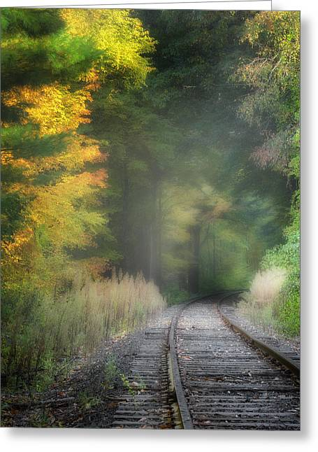 Sun Beams Sun Rays Greeting Cards - Housatonic Railroad Greeting Card by Bill  Wakeley