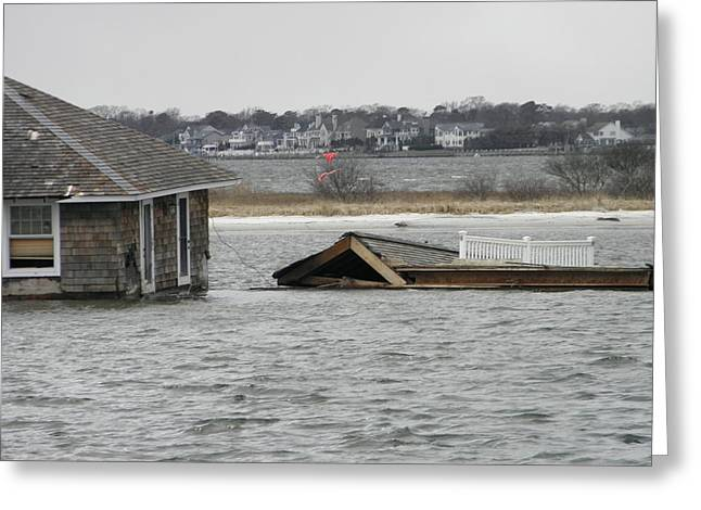 Hurricane Sandy Photographs Greeting Cards - House Afloat Greeting Card by William Haggart