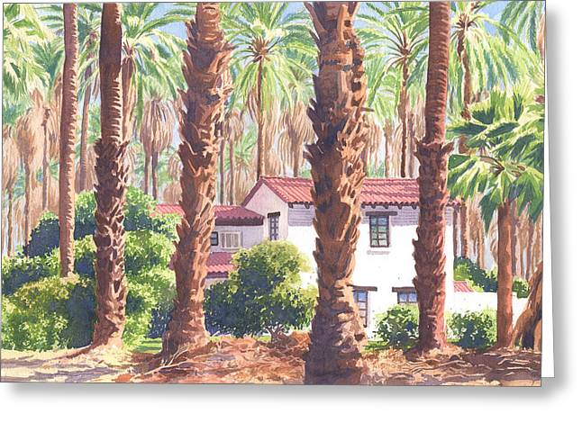 Dated Paintings Greeting Cards - House among Date Palms in Indio Greeting Card by Mary Helmreich