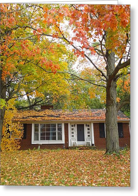 Guy Ricketts Photography Greeting Cards - House Among the Crimson and Green Greeting Card by Guy Ricketts