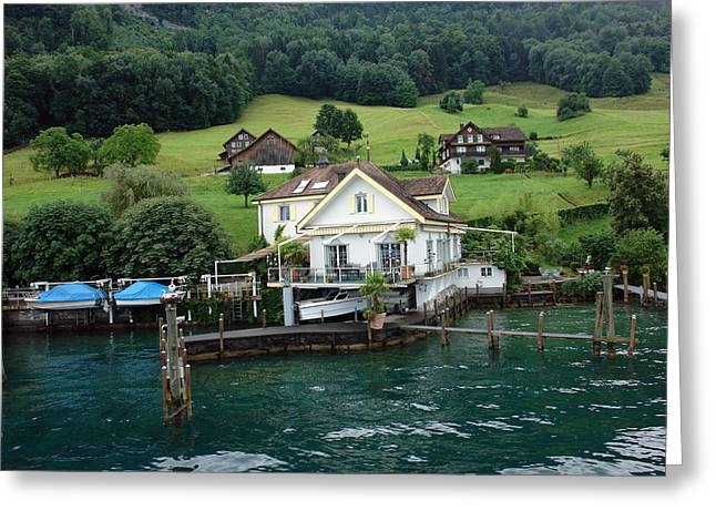 House And Boat In Switzerland Greeting Card by Ashish Agarwal