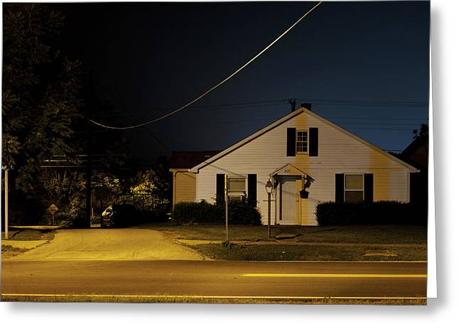 La Grange Greeting Cards - House at Night Greeting Card by Chris Fender
