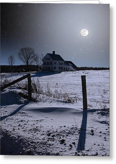 Composite Photo Greeting Cards - House At Night Greeting Card by Larry Landolfi