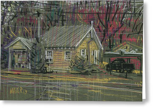 House Drawings Greeting Cards - House at the Corner Greeting Card by Donald Maier