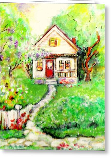 Stone House Mixed Media Greeting Cards - House At The End Of The Lane Greeting Card by Barbara LeMaster