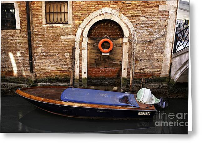 Boats In Water Greeting Cards - House Boat in Venice Greeting Card by John Rizzuto