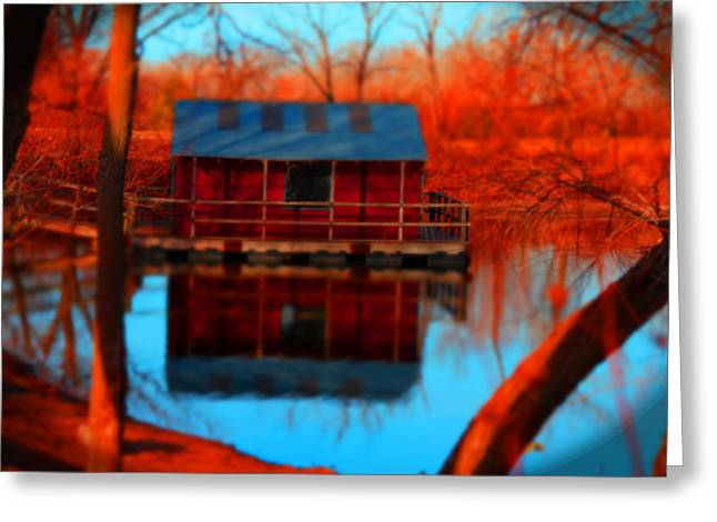 Deer Camp Greeting Cards - House Boat Greeting Card by J Williams