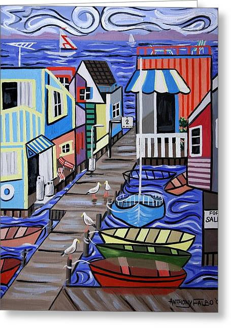 Famous Artist Greeting Cards - House Boats For Sale Greeting Card by Anthony Falbo
