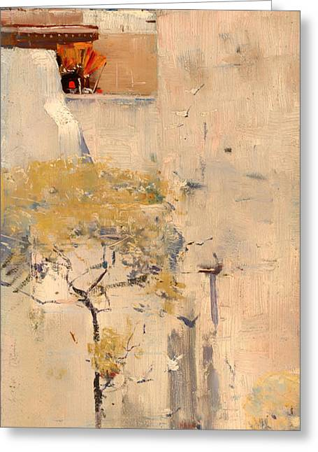 Historic Home Greeting Cards - House Builders in Cairo Greeting Card by Arthur Streeton