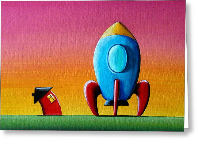 Spaceships Greeting Cards - House Builds A Rocketship Greeting Card by Cindy Thornton