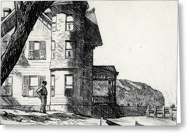 White Drawings Greeting Cards - House by a River Greeting Card by Edward Hopper