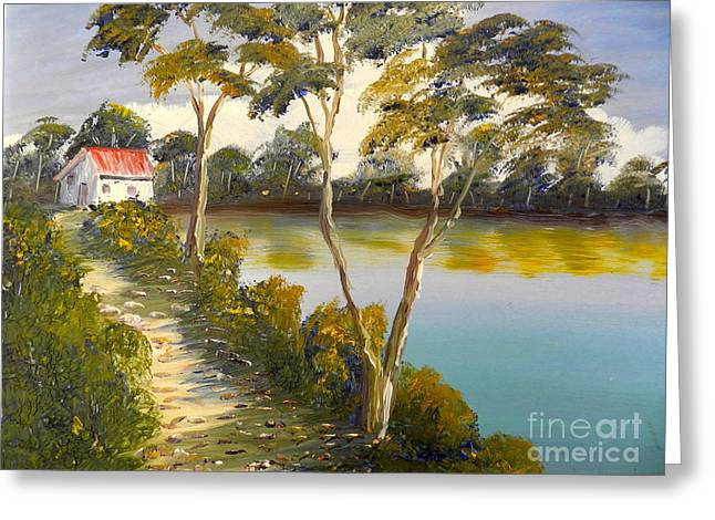 Ecommerce Greeting Cards - House by the Lake Greeting Card by Pamela  Meredith