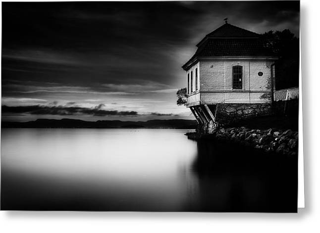 Calm Waiting Greeting Cards - House by the Sea BW Greeting Card by Erik Brede