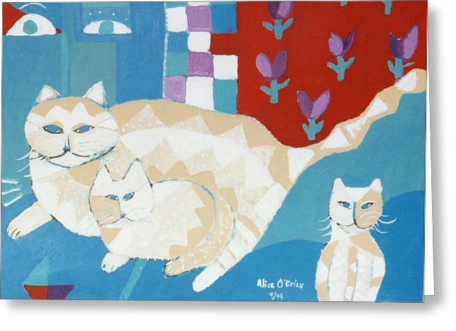 Pet Therapy Greeting Cards - House Cats Greeting Card by Allison  Fauchier