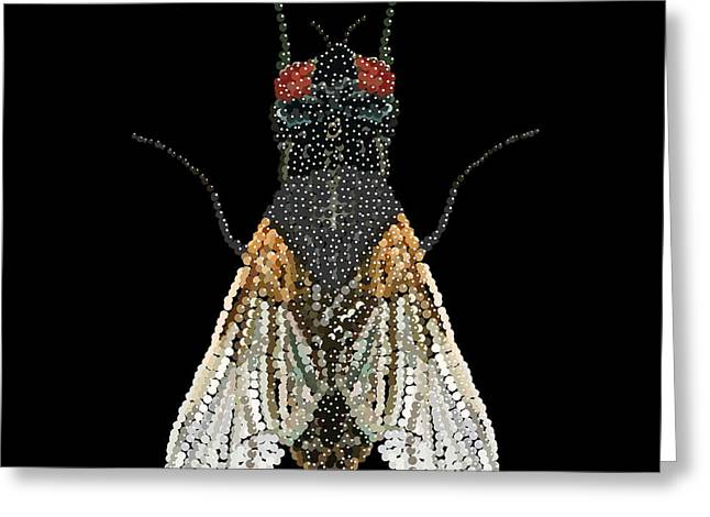 House Fly Bedazzled Greeting Card by R  Allen Swezey