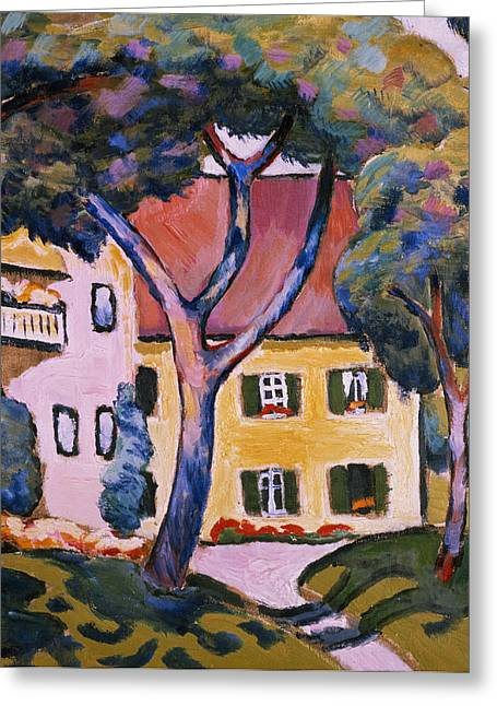 Expressionist Greeting Cards - House in a Landscape Greeting Card by August Macke