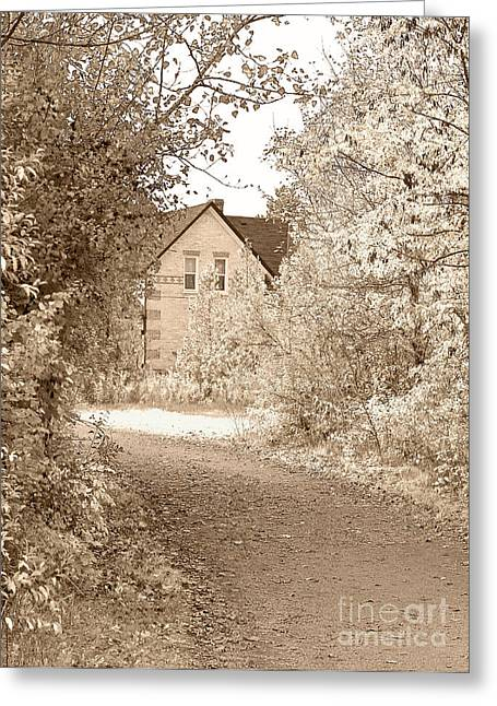 Fallen Leaf Greeting Cards - House in autumn Greeting Card by Blink Images