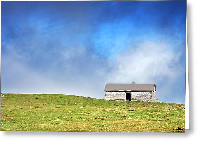Mountain Cabin Greeting Cards - House In Mountain In Sunny Day Greeting Card by Mikel Martinez de Osaba