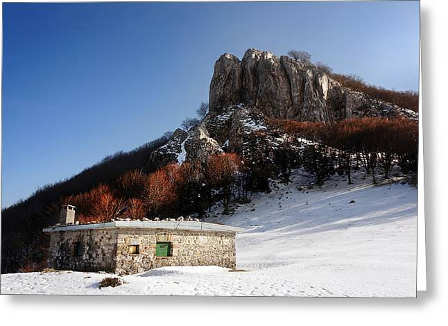 Mountain Cabin Greeting Cards - House In Mountain With Snow In Winter Greeting Card by Mikel Martinez de Osaba