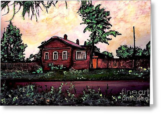 Europe Mixed Media Greeting Cards - House in Sergeiev Posad   Greeting Card by Sarah Loft