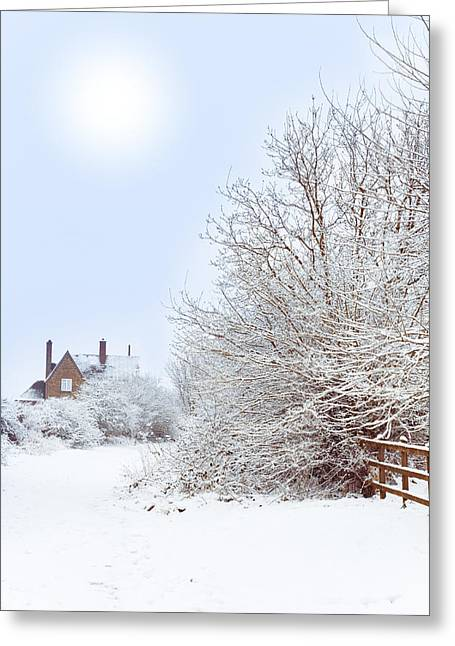 White House Prints Greeting Cards - House In snow Greeting Card by Amanda And Christopher Elwell