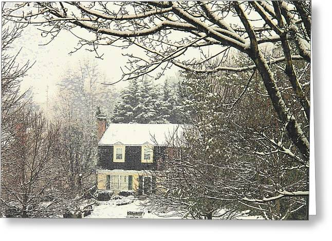 Snow Scenes Greeting Cards - House in Snow Greeting Card by Joyce Kimble Smith
