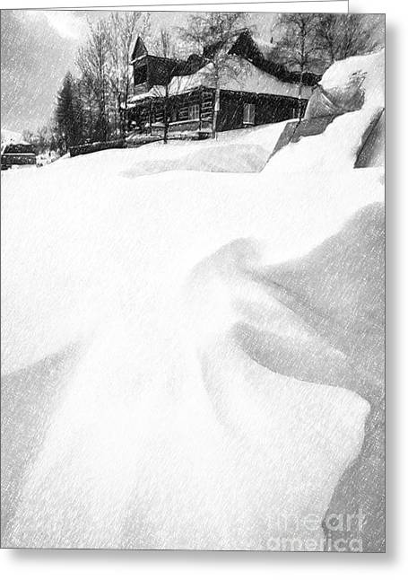 Snow Drifts Greeting Cards - House in Snow Greeting Card by Rod McLean
