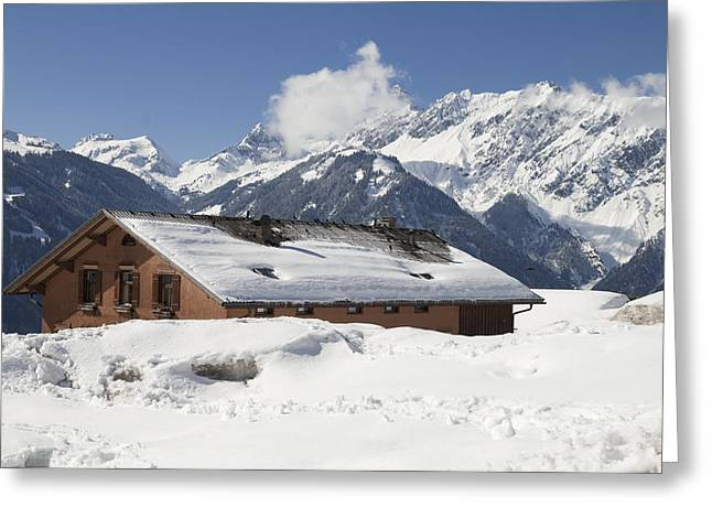 Snowbound Greeting Cards - House in the alps in winter Greeting Card by Matthias Hauser