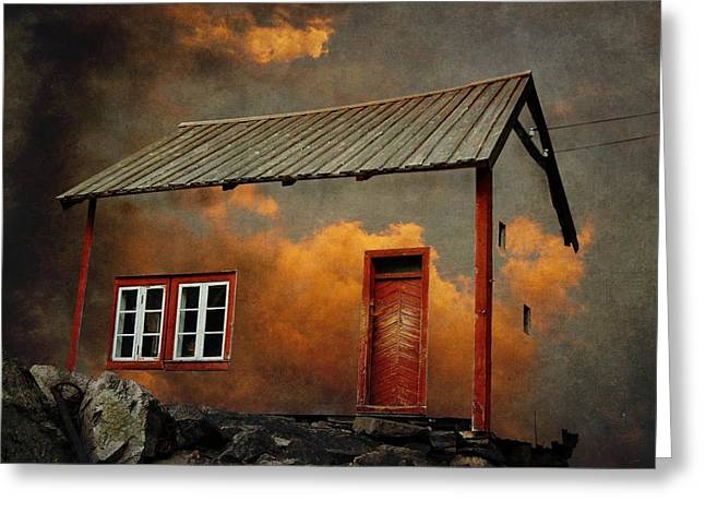 Norwegian Sunset Greeting Cards - House in the clouds Greeting Card by Sonya Kanelstrand