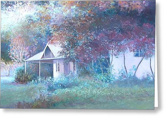 Lounge Paintings Greeting Cards - House in the Woods Greeting Card by Jan Matson
