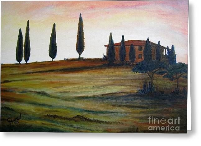 Tuscan Sunset Greeting Cards - House in Tuscany Greeting Card by Christine Huwer