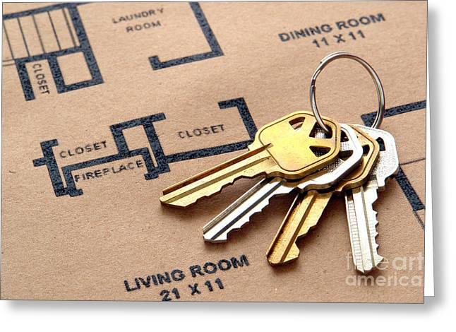 Realty Greeting Cards - House Keys on Real Estate Housing Floor Plans Greeting Card by Olivier Le Queinec