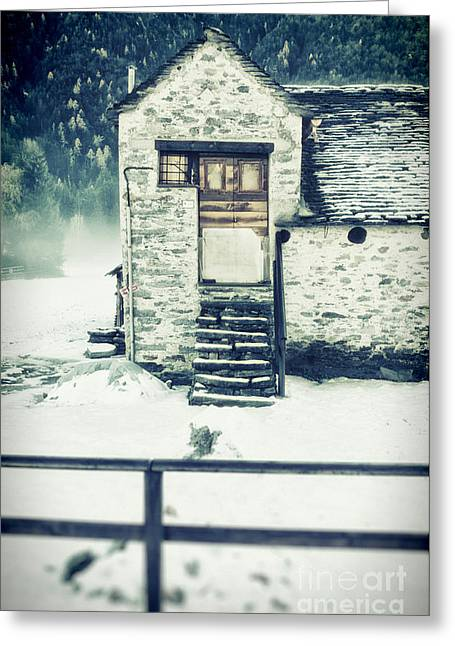 Wintry Photographs Greeting Cards - House near the wood Greeting Card by Silvia Ganora