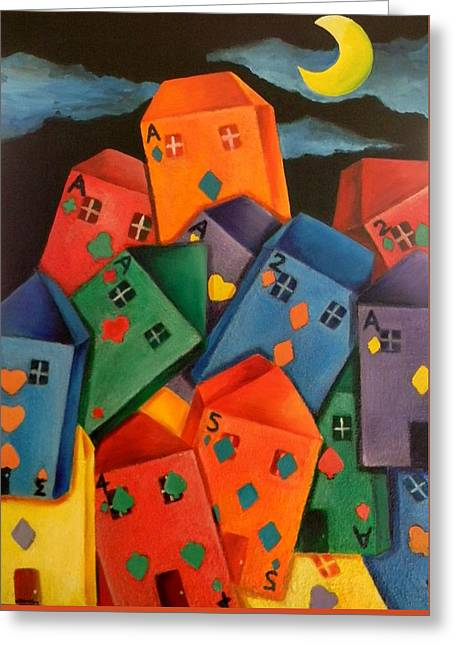 Lisa Bentley Greeting Cards - House of cards Greeting Card by Lisa Bentley