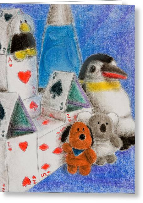 Penguins Pastels Greeting Cards - House of Cards Still Life Greeting Card by Jeanette K