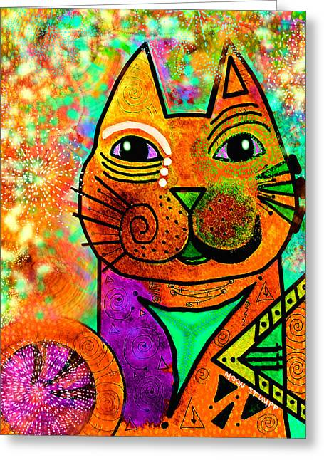 Whimsical Mixed Media Greeting Cards - House of Cats series - Blinks Greeting Card by Moon Stumpp
