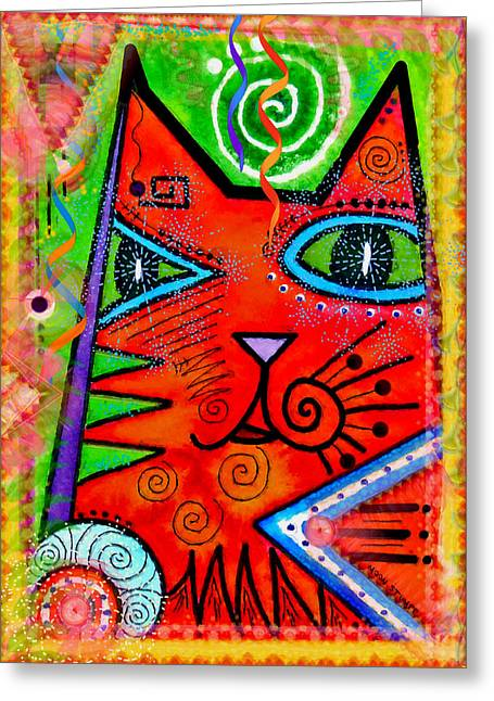 Feline Fantasy Greeting Cards - House of Cats series - Bops Greeting Card by Moon Stumpp