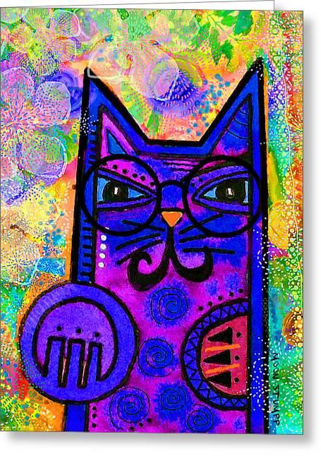 Whimsical Mixed Media Greeting Cards - House of Cats series - Paws Greeting Card by Moon Stumpp